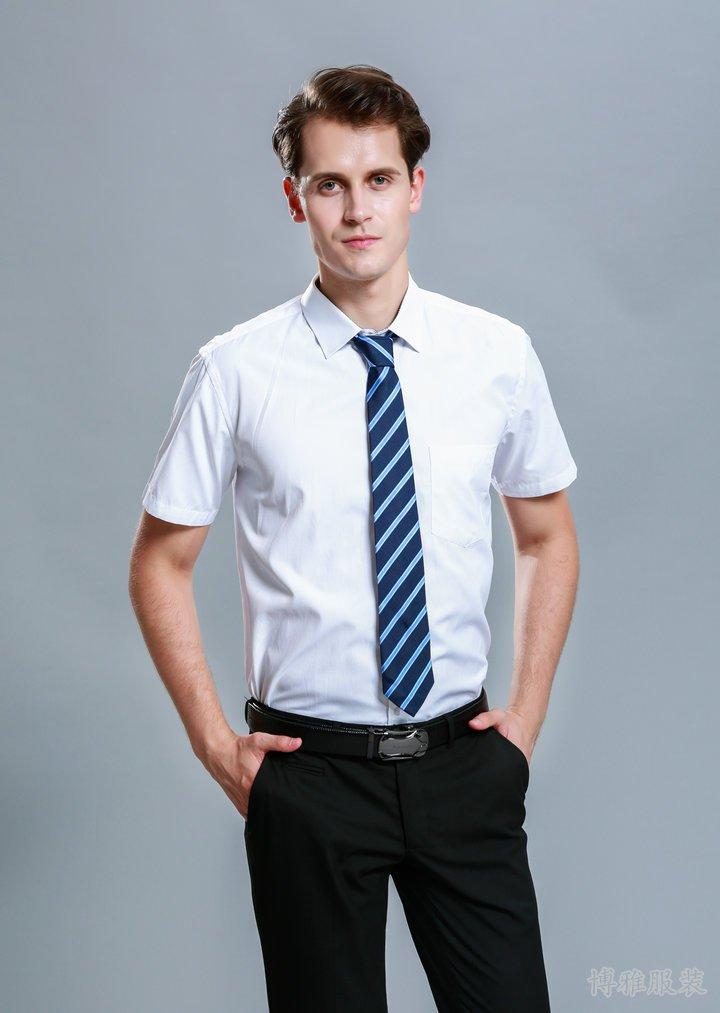 经典夏季白色短袖衬衫