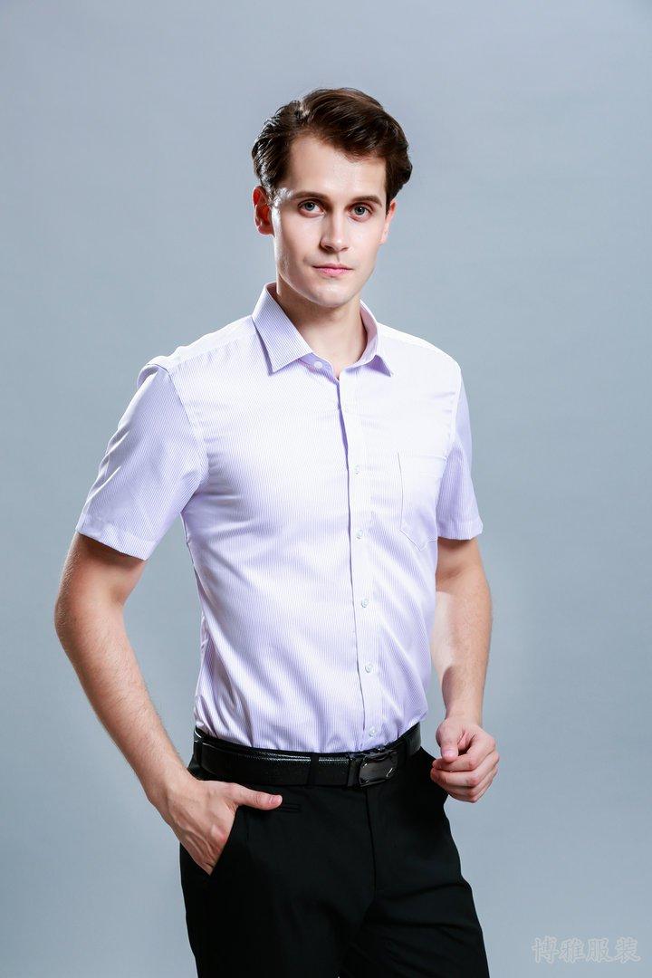 经典夏季粉色短袖衬衫